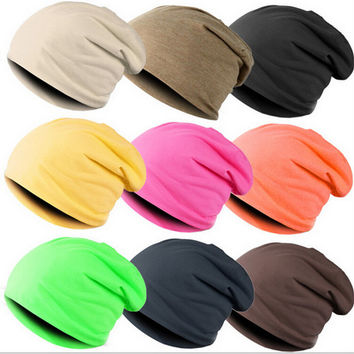 New Unisex Beanie Stacking Knitted Hat Slouch For Women Men Hip Hop Free Size  Casual Autumn Winter Cap 16 Colors Solid 2015