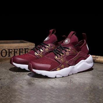 ONETOW Best Online Sale LV x Supreme x Nike Air Huarache Custom Red White Sport Running Shoes