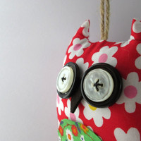 Owl plushie- stuffed fabric hanging  decor-lavender scented.Holiday/Christmas/nursery /baby shower present