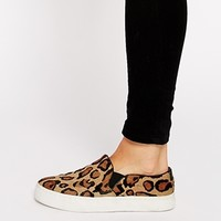 River Island Leopard Leather Pony Effect Slip On Plimsolls