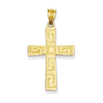 14K Yellow Gold Greek Key Cross Pendant