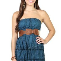 lace strapless day dress with tier skirt and crochet belt waist - 1000051673 - debshops.com