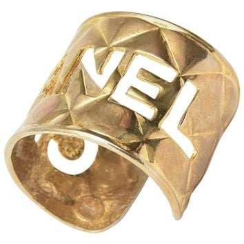 Chanel Gold Plated Quilted Logo Cutout Cuff Bracelet