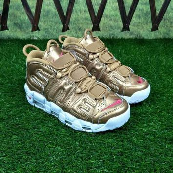 Supreme x Nike Air More Uptempo Gold White Red Sneakers - Best Deal Online
