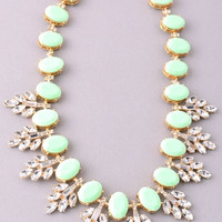 Colorful Chunky Ovals and Rhinestones Statement Necklace - Mint, Coral or Ivory