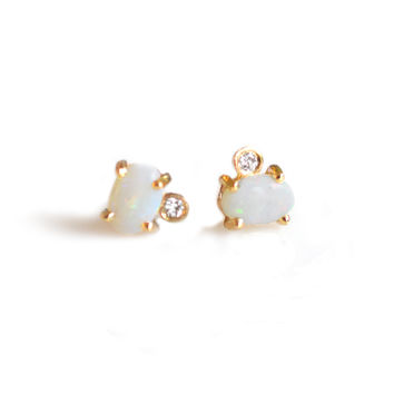 Opal and Diamond Droplet Studs