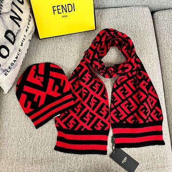 """FENDI"" Popular Women Men Casual Knit Warm Hat Cap Scarf Two Piece Set Black/Red"