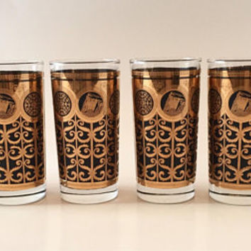 Mid Century Black and Gold Tumblers, Set of 6 Highball Glasses, Retro Bar Glasses