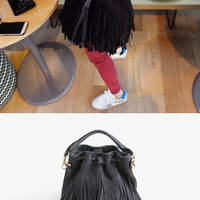Fringed Bucket Bag - Miamasvin loves u! Womens Clothing. Korean Fashion.