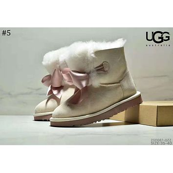 UGG winter 2018 new bow ribbon female models anti-skiing boots #5