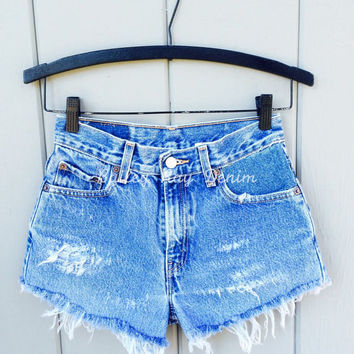 Levis High Waisted Cut Off Denim Cheeky Jean Shorts - Distressed