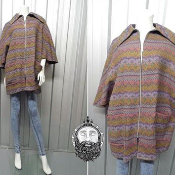 Vintage 60s 70s Wool Cape Coat Swing Coat Aztec Print Dagger Collar Tapestry Print Batwing Sleeves Patch Pocket Mexican Poncho Womens Tweed