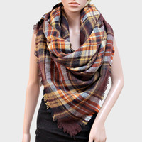 Plaid Check Knit Fringed Trim Blanket Scarf - Brown & Yellow