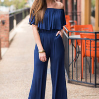 Waiting On Love Jumpsuit, Navy