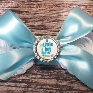 It's a Boy! Blue and White with Bow Maternity Sash