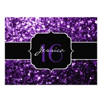 Beautiful Purple glitter sparkles look Sweet 16 invite by PLdesign