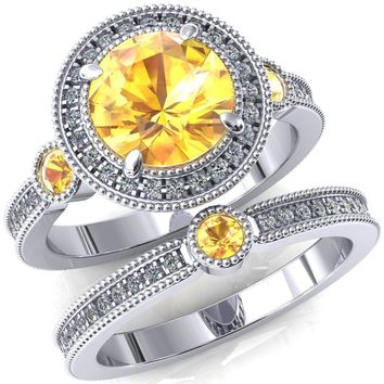 Brachium Round Yellow Sapphire Bezel Milgrain Halo 3/4 Eternity Accent Diamond Ring