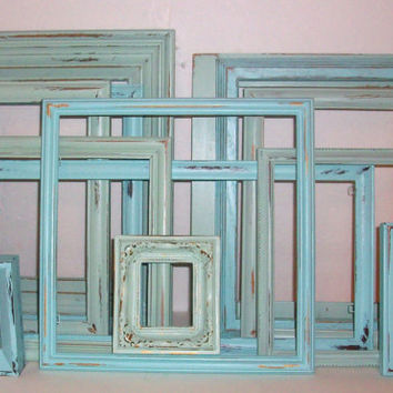 13 Shades of the Beach Distressed Picture Frames Robins Egg Blue & Sea Foam Green