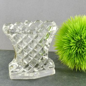 Bohemian Glass Toothpick Holder Czech Cut Czechoslovakia Fan Shape Diamond Pattern Stunning Form Elegant Glass Tableware