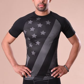 Tactical Brushed USA Flag Short Sleeve Compression Jersey