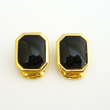 Christian Dior Earrings Black Glass Gold Tone Octagon Geometric Vintage Jewelry