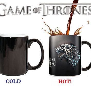 Game of Thrones Stark Mugs Winter Is Coming Color Changing Cups Sensitive Ceramic Tea Cup