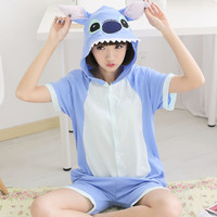 Cosplay Cotton  Anime Cosplay Animal Costume Short Sleeve Stitch Cartoon Animal Pajamas Onesuit Sleepwear For Adult