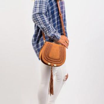 Chelsea Braided Cross body Bag - Chestnut