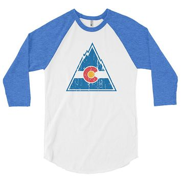 Retro Colorado Rockies Hockey 3/4 Sleeve Raglan Shirt