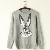 Sequined  knitted rabbit sweater  T74239