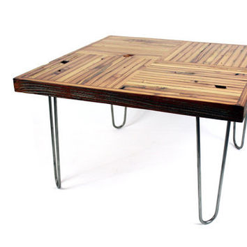 Reclaimed Wood Coffee Table // Rustic Modern // Eco Friendly Furniture // Urban Loft Style // Mid-Century Influenced Design