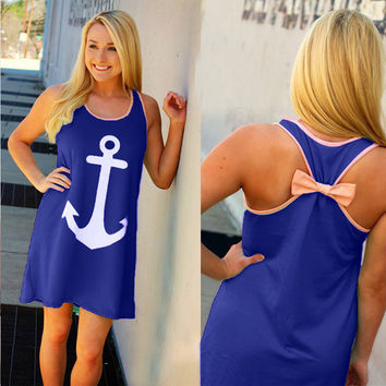 Anchor Print Back Bowknot Mini Dress