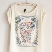 Cotton T-shirt with Walking Elephant Print GHNA349 from topsales