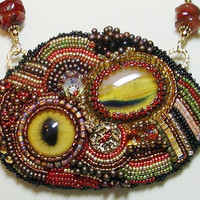 Bead embroidered adjustable necklace by joellenflaherty on Etsy