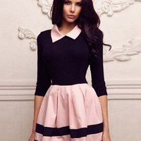 Half Sleeve Pointed Flat Collar Sheath Mini Skater Dress