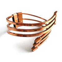 Renoir Copper Bracelet Willow Design Arts and Craft Bracelet Hinged Bracelet Modernist Bracelet Metal Cuff