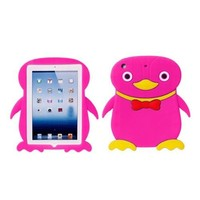 New Cute Cartoon Penguin Animal Silicone Case Cover Skin for iPad Mini Rose