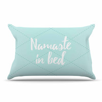 "KESS Original ""Namaste In Bed Teal"" Blue White Pillow Sham"