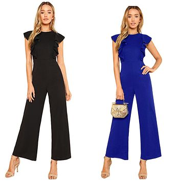 Sleeveless, Ruffle Trim, Wide Leg, High Waist, Long Length Jumpsuit: Sizes XSmall - Large