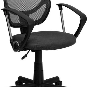 Mid-Back Gray Mesh Task Chair and Computer Chair with Arms