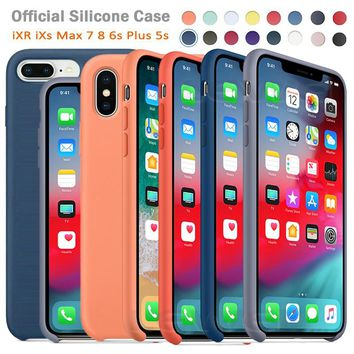 Official Original Silicone Case For iPhone 7 Case Liquid Have LOGO for Apple iPhone X XS Max XR for iPhone 8 5s 6 6S Plus Cover