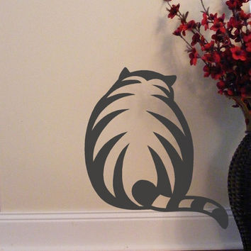 Cat vinyl decal  striped chubby kitty removable wall sticker