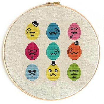 §³ross Stitch Pattern Pdf / Jpeg Instant Download   Hipster Eggs Easter Eggs Easter Cross Stitch