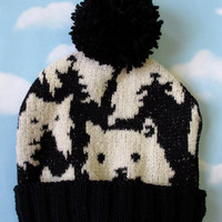 Black and White Kitty Winter Hat by PrettySnake on Etsy