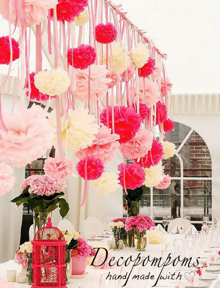Shop hanging paper flowers on wanelo 75 pompom set light dark pink and ivory pompoms with strings mightylinksfo