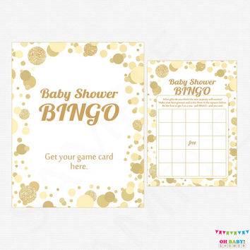 Baby Shower Bingo, Gold Baby Shower Games - Bingo Game + Sign, Printable Baby Shower Game, Boy Girl Baby Shower, INSTANT DOWNLOAD CB0003-g
