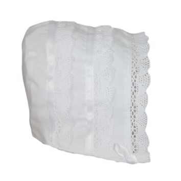 Cluny Laces & Satin Ribbon Handmade White 100% Cotton Batiste Bonnet (Infant Girls 3 - 12 months)