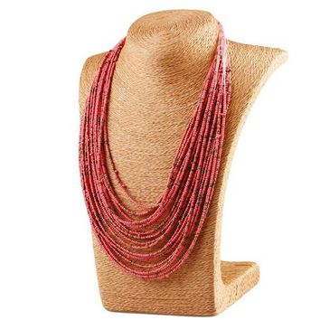 "20.50"" seed bead layered strand drape collar boho necklace"