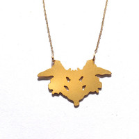 Gold Rorschach Test Card Necklace Psychology Jewelry Free Shipping Beep Studio Unisex Art Statement Necklace Silver Gold Science Necklace