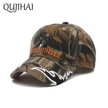 Trendy Winter Jacket QUJIHAI Hat Men Women Baseball Cap Soldier Camouflage Snapback Caps Army Green Gorras Bone Casquette AT_92_12